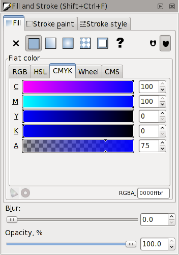 CMYK Tab For Setting Fill Color