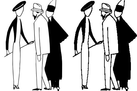 Silhouettes de trois personnages