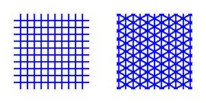 Grilles rectangulaire et axonométrique.