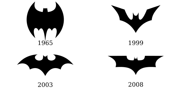 Four different Batman logos.