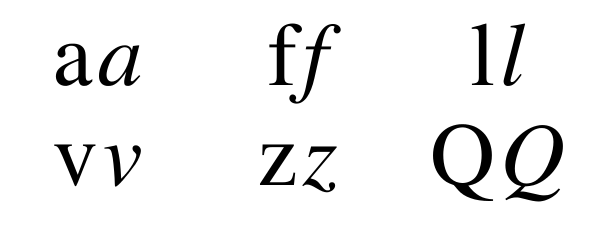 Comparison of the letters 'a', 'f', 'l', 'v', 'z', and 'Q'.