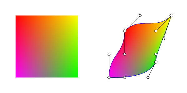 Left: square showing color interpolation. Right: patch showing result of mapping.