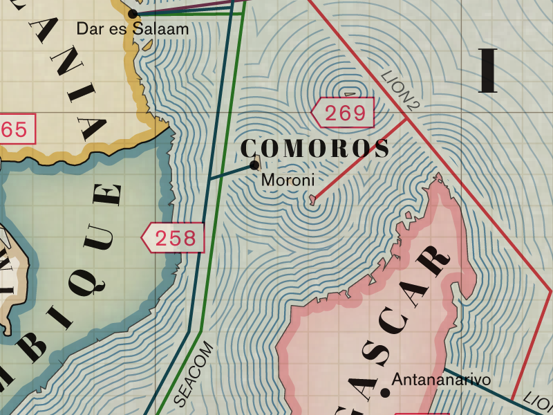 Section of map showing lines ringing a group of islands.