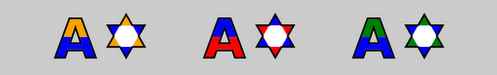 The letter A and a star rendered from a test Open Type Font using SVG glyphs.