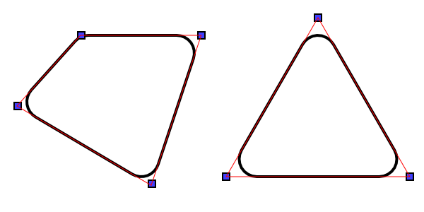 Two paths with rounded corners of radius r.