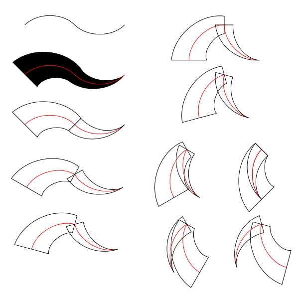 Figures with various angles between the two path sections.