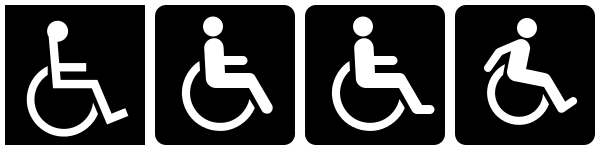Examples of handicap access symbols.